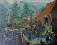 The Auction - British art Slade School Art Deco Australian oil painting market