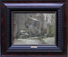 Winter Courtyard - French art Impressionist 19thC oil painting village snow