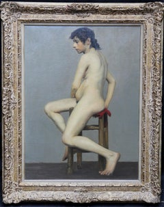 Nude - The Artist's Model - British art Victorian oil painting seated nude woman