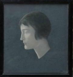 Portrait of a Lady - British thirties Art Deco female portrait Jewish artist