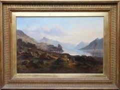 Scottish Loch- British 19thC art landscape oil painting cattle herders eventide