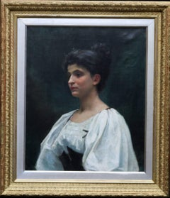 Portrait French Breton Woman - Exhibited 19C Welsh female artist oil painting