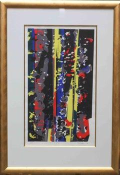 Yellow Spike - British 60's Abstract Silk Screen print blue red grey COBRA art