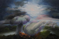 Landscape with Mushrooms II - Welsh art Abstract oil painting leaves trees sky