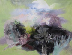 Landscape with White Bird - Welsh 50's Abstract art oil painting trees sky bird