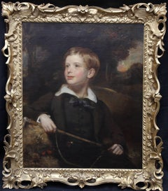 Boy on Ride - Old Master 18thC British oil painting child landscape riding crop