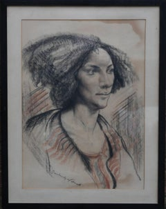 Portrait of a Lady - British Post Impressionist 40's drawing woman black brown