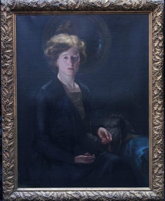 Portrait of a Woman - British 1919 oil painting seated lady pocket watch art