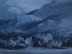 Dinas Cottage Killarney - Old Master Irish landscape blue nocturne art