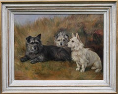 Portrait of Three Terriers - British Edwardian oil painting dogs female artist