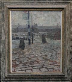 Port Dundas Glasgow - British painting 50s Scotland cobbled street bridge houses