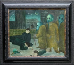 Death of the Young Men - Surrealist 1930's anti war oil painting gas masks art