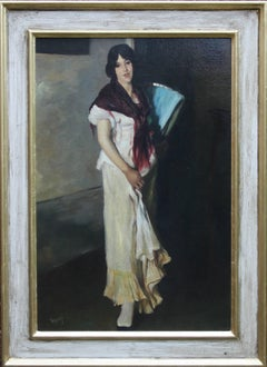 Portrait of a Lady - British 1930's Art Deco oil painting woman standing shawl