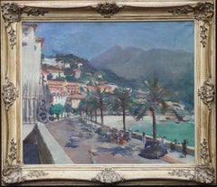 Menton South of France - British 40's Impressionist oil painting beach promenade