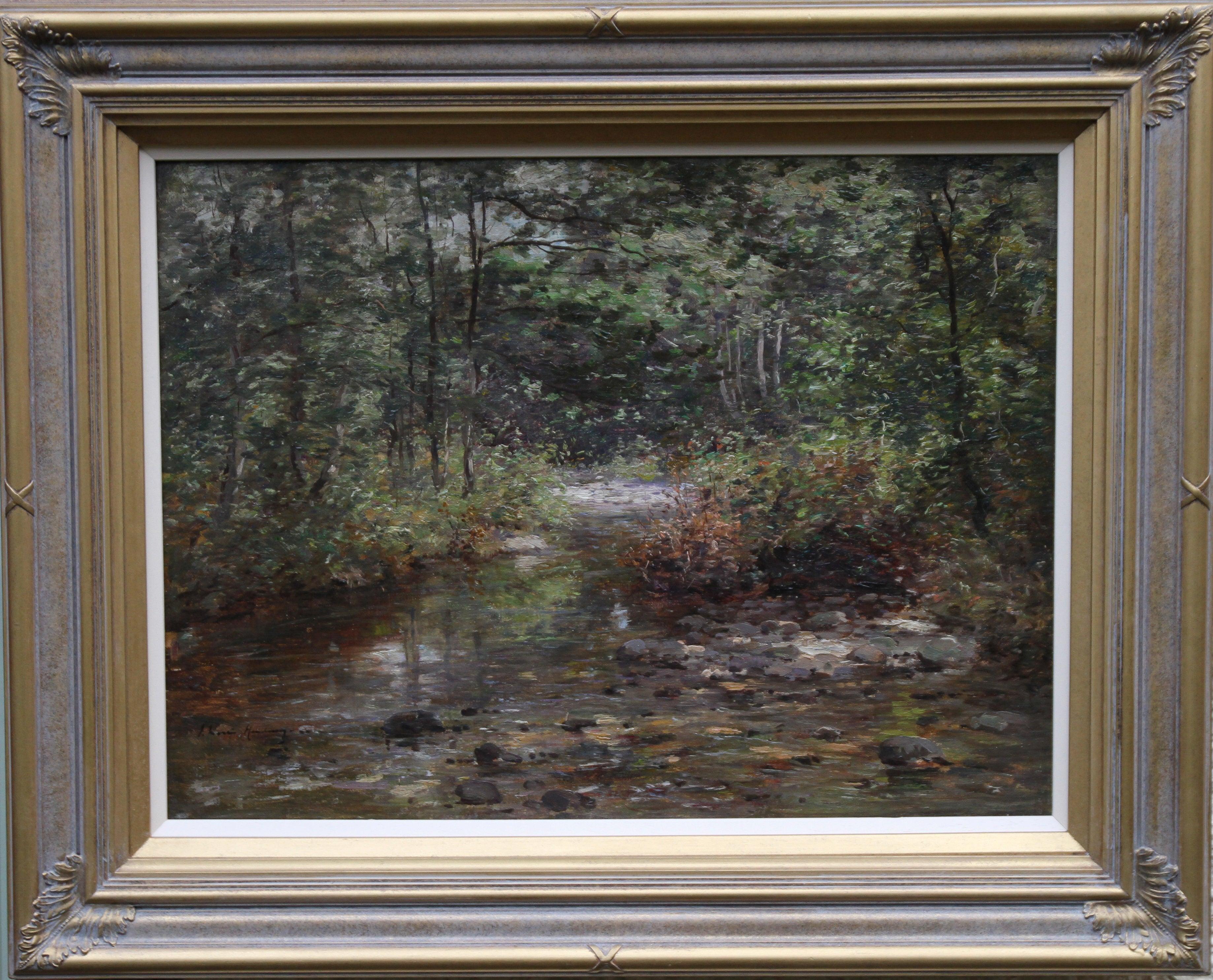 The Burn -Scottish Edwardian exhibited art Impressionist landscape oil painting