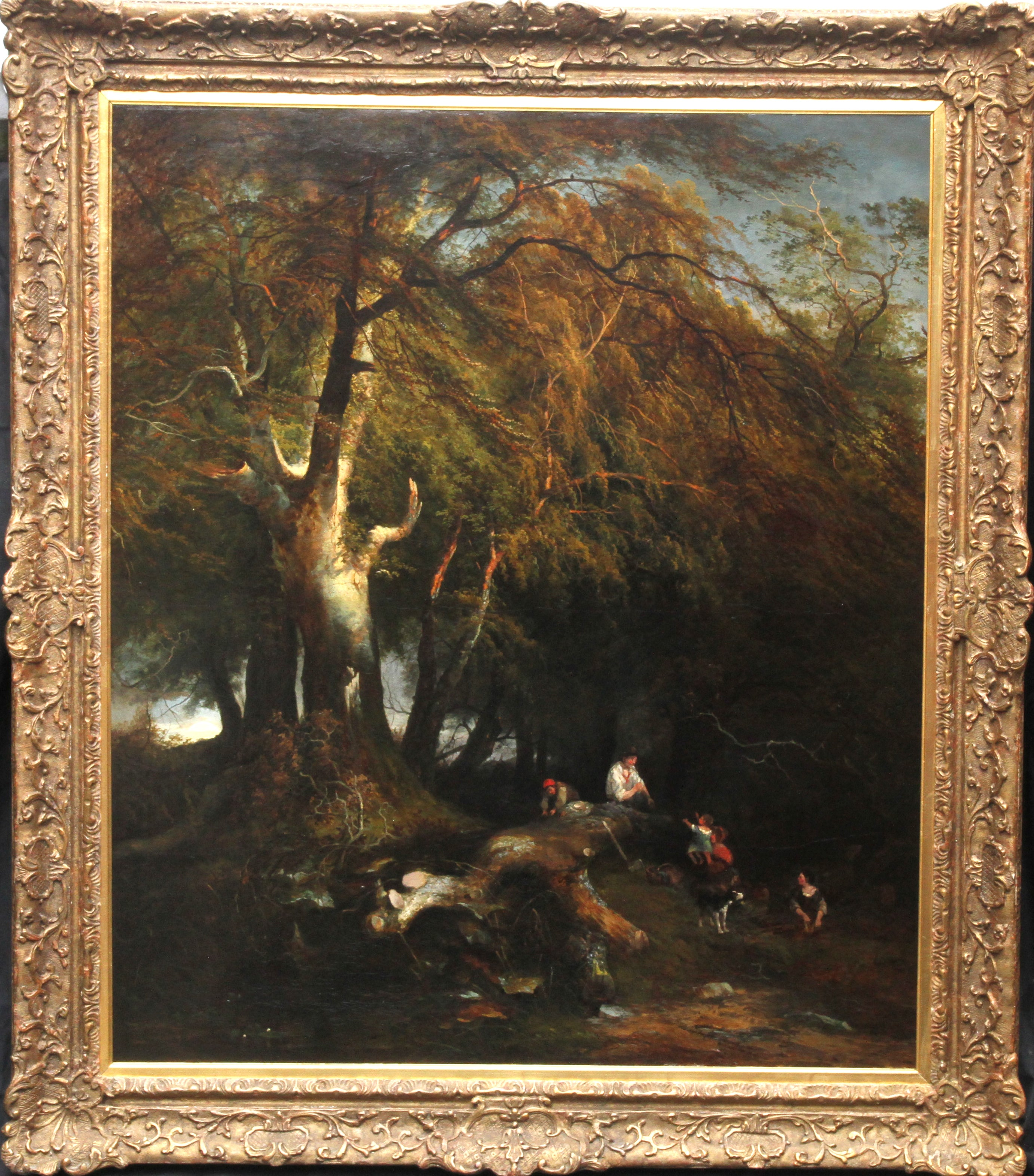 The Woodman's Family in a Landscape - British 1869 Victorian art oil painting