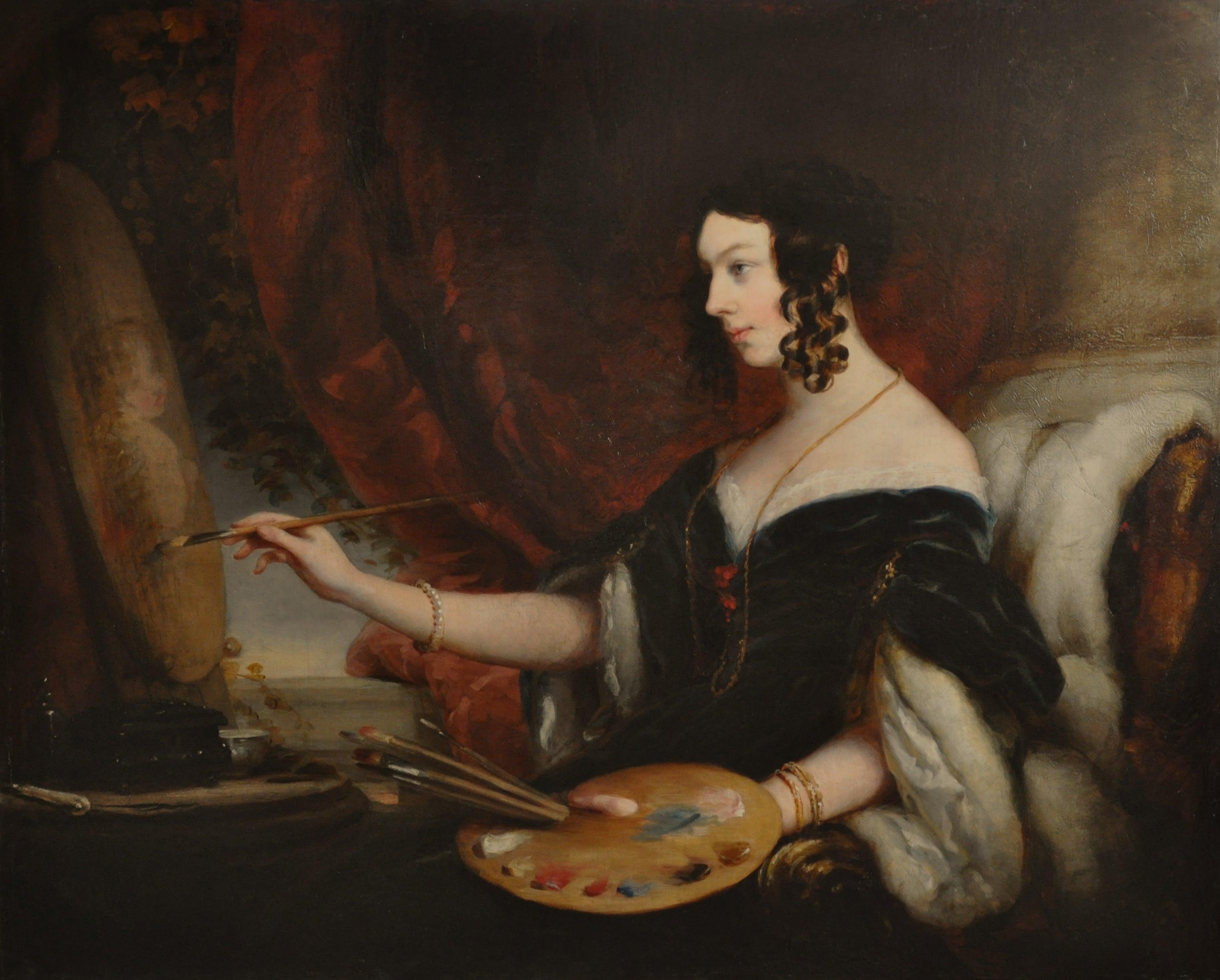 Mrs Mary Milnes Gaskell - Old Master oil portrait easel Scottish female artist