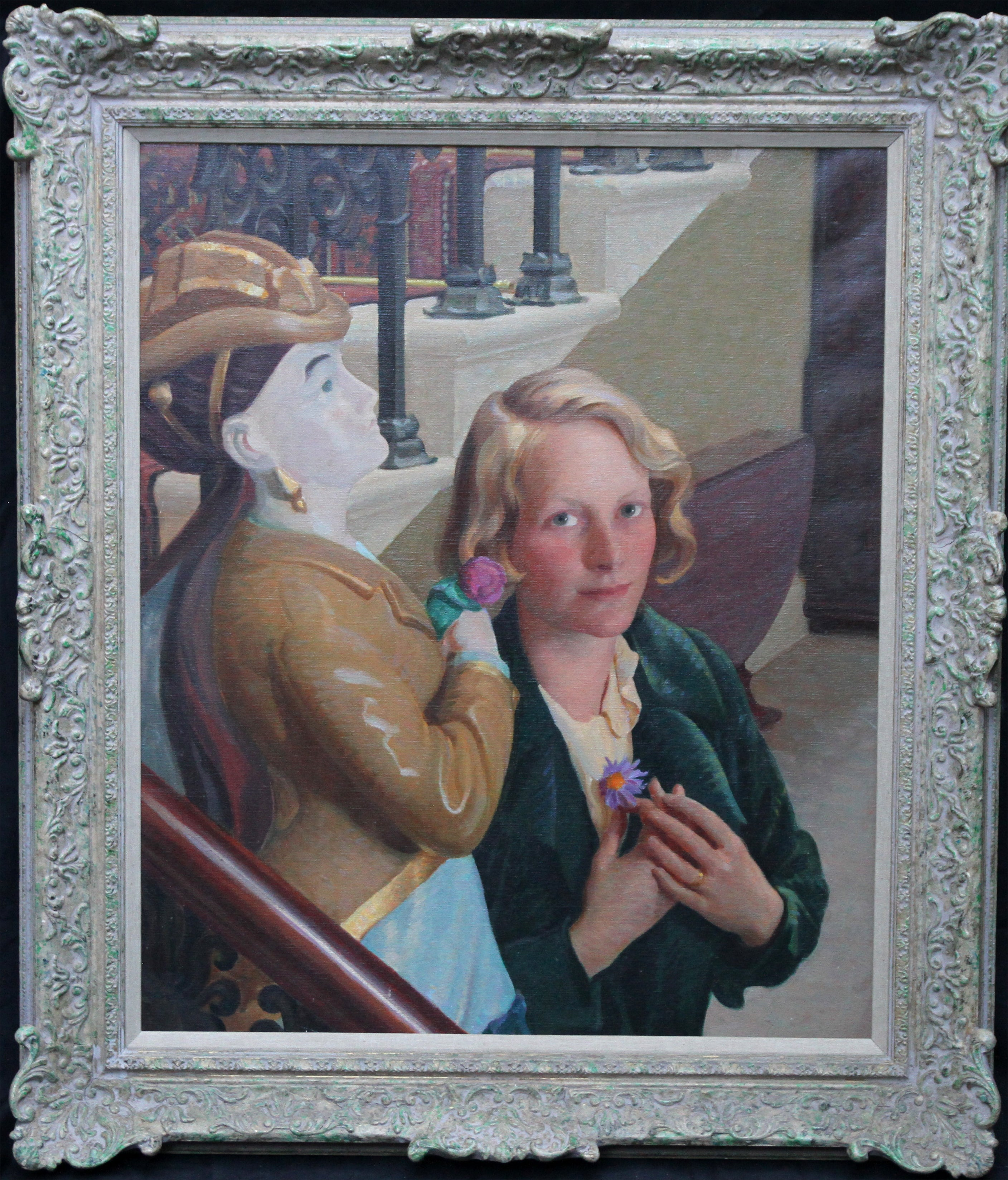Countess of Cranbrook with Statue - Scottish 30's Art Deco portrait oil painting