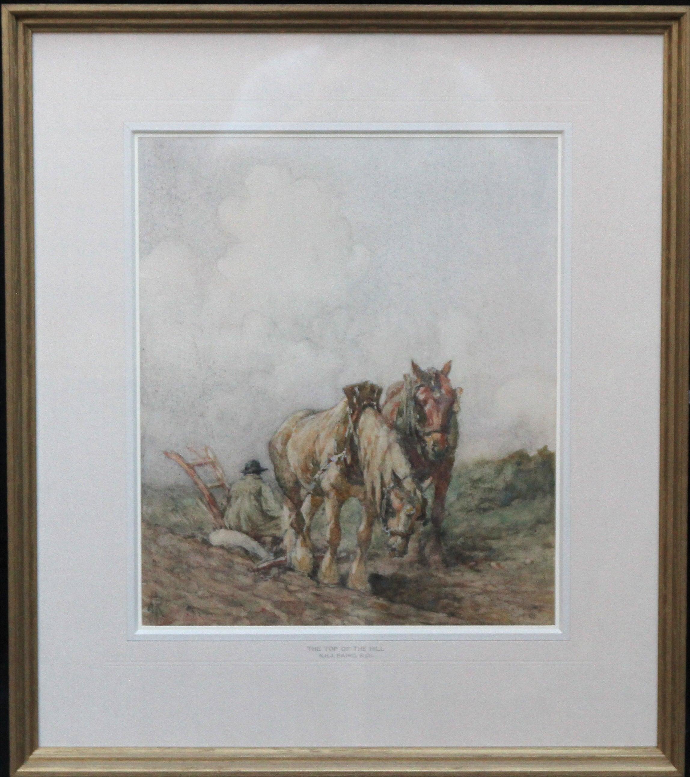 Horses Top of Hill - Scottish 20s Impressionist landscape watercolour equine art
