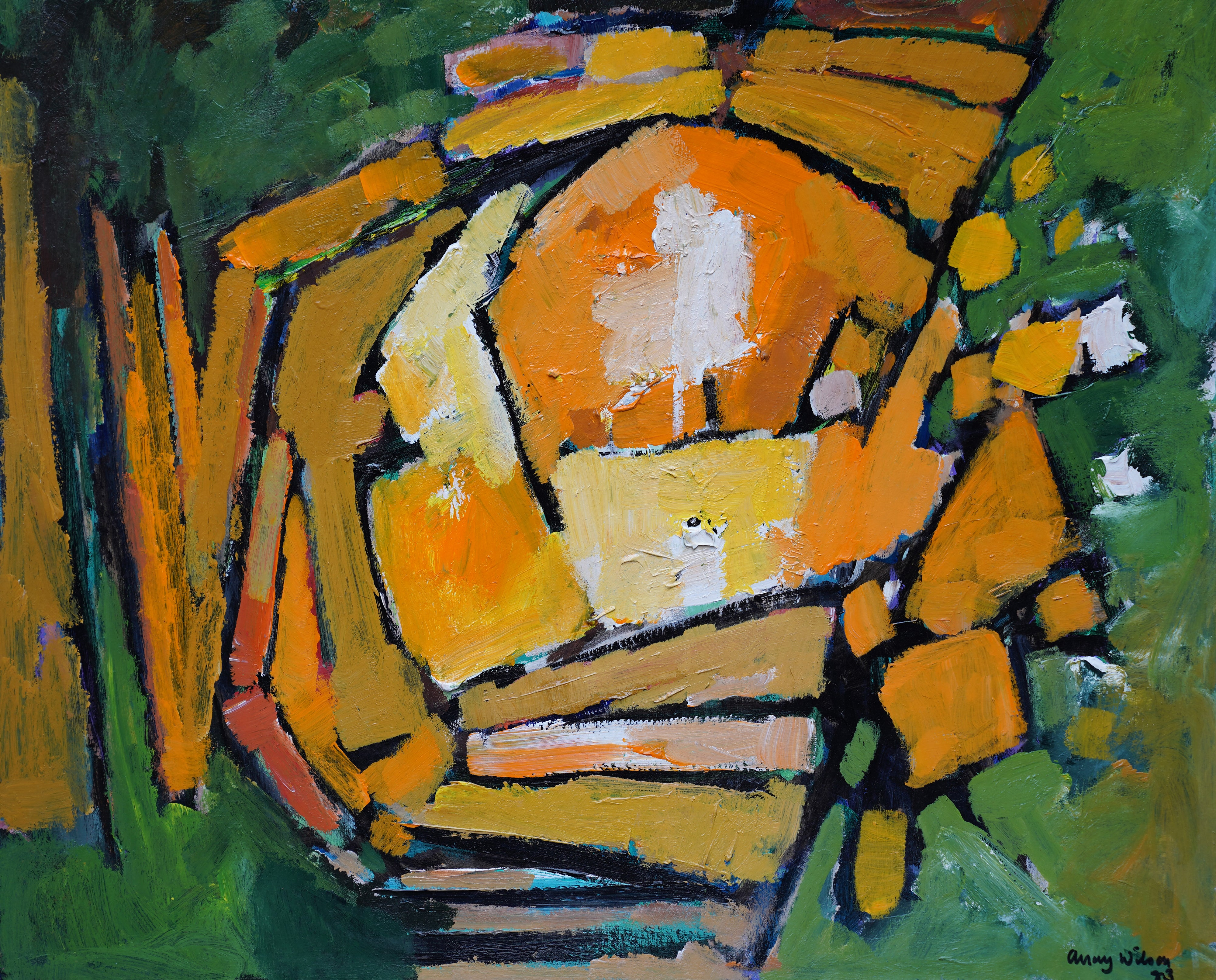 Abstract 1983 - Green Yellow - British 20th century Action art oil painting