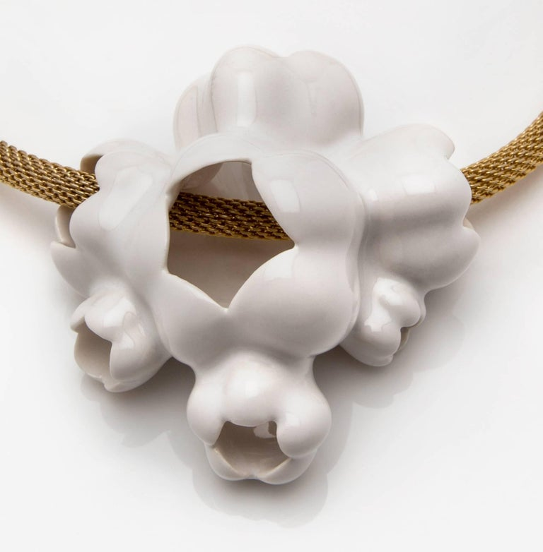 "The Cloud Fruit necklace is a porcelain pendant on a gold vermeil mesh rope (Pendant is 3.5"" x 3.25""; Chain is 19"") . It is an edition of 12, with 4 artist proofs.  Artist David Wiseman references Cloud Fruit throughout his sculptural installations"