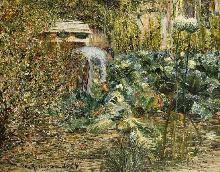 Charles angrand dans le jardin 1884 at 1stdibs for Dans le jardin