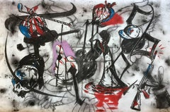 """Study for """"Against the Tragic Wall"""", charcoal and pastel on paper"""