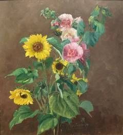 Still Life with Sunflowers and Hollyhocks