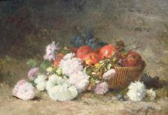 Chrysanthemums and fruit in a basket