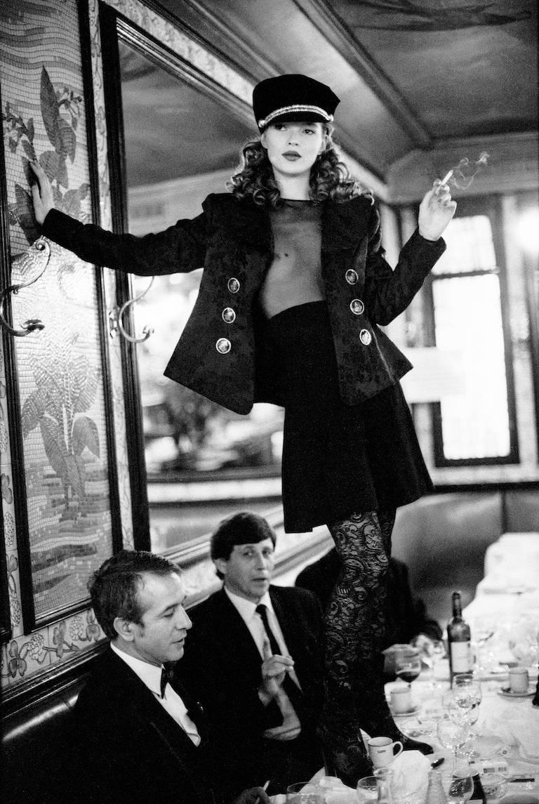 Arthur Elgort Black and White Photograph - Kate Moss, Café Lipp (Vertical), Paris