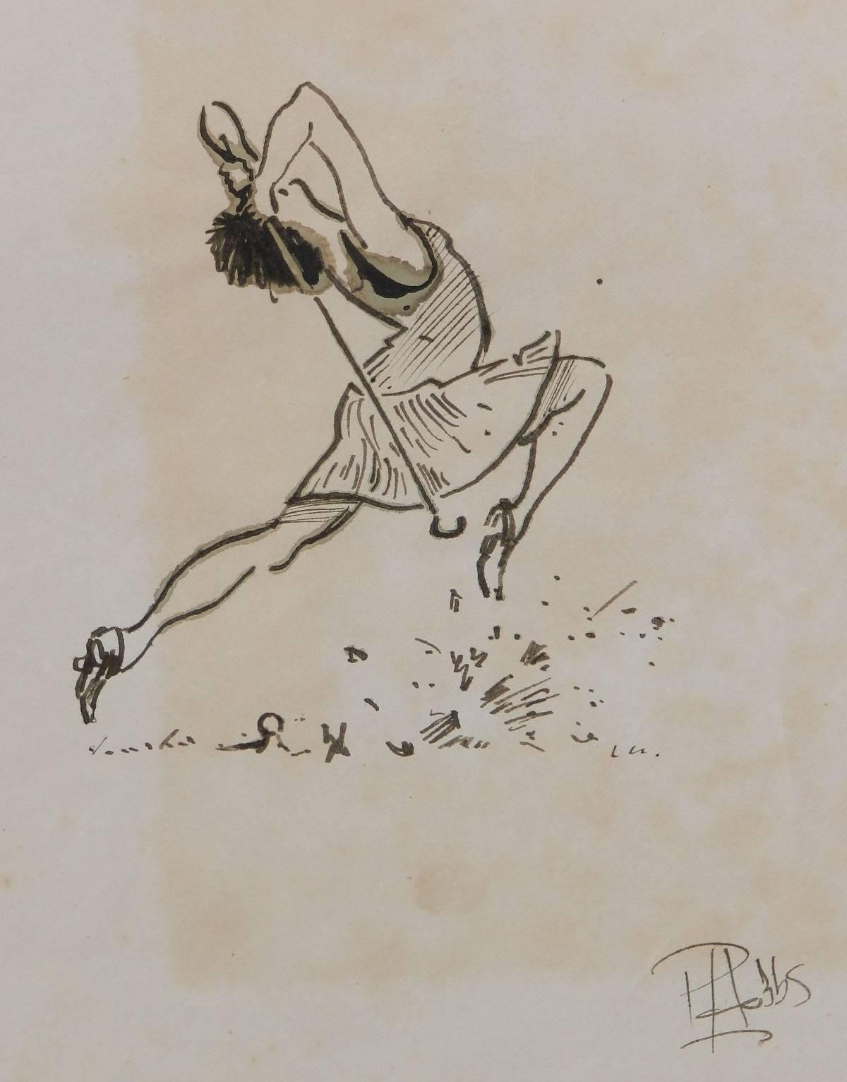 Caricature of a Lady Golfer by Peter Hobbs original watercolour sketch