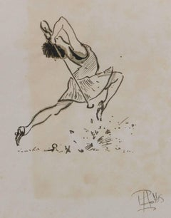 Original Painting Caricature of a Golfer by Peter Hobbs Golf Lady
