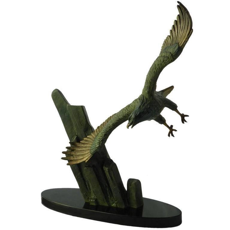 Unknown Figurative Sculpture - Eagle in Flight signed Rulas Art Deco Sculpture Statue on Marble Base Animalia