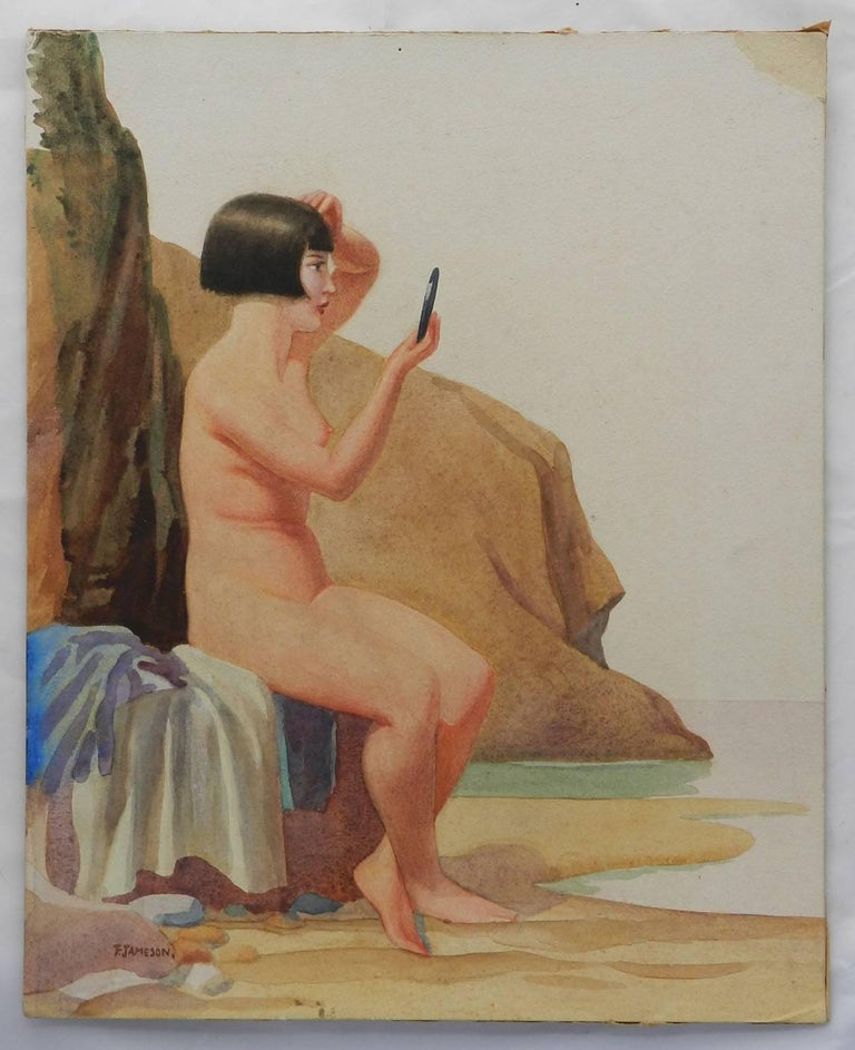 Watercolour by Frank Jameson Art Deco 1930s English St Ives School 5