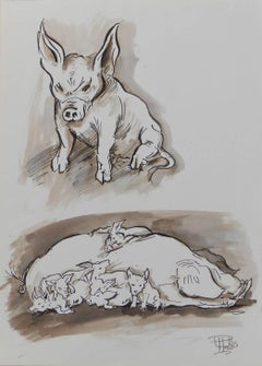 Study Sketches of Pigs by Peter Hobbs, 1930-1994 Sepia tone Watercolor