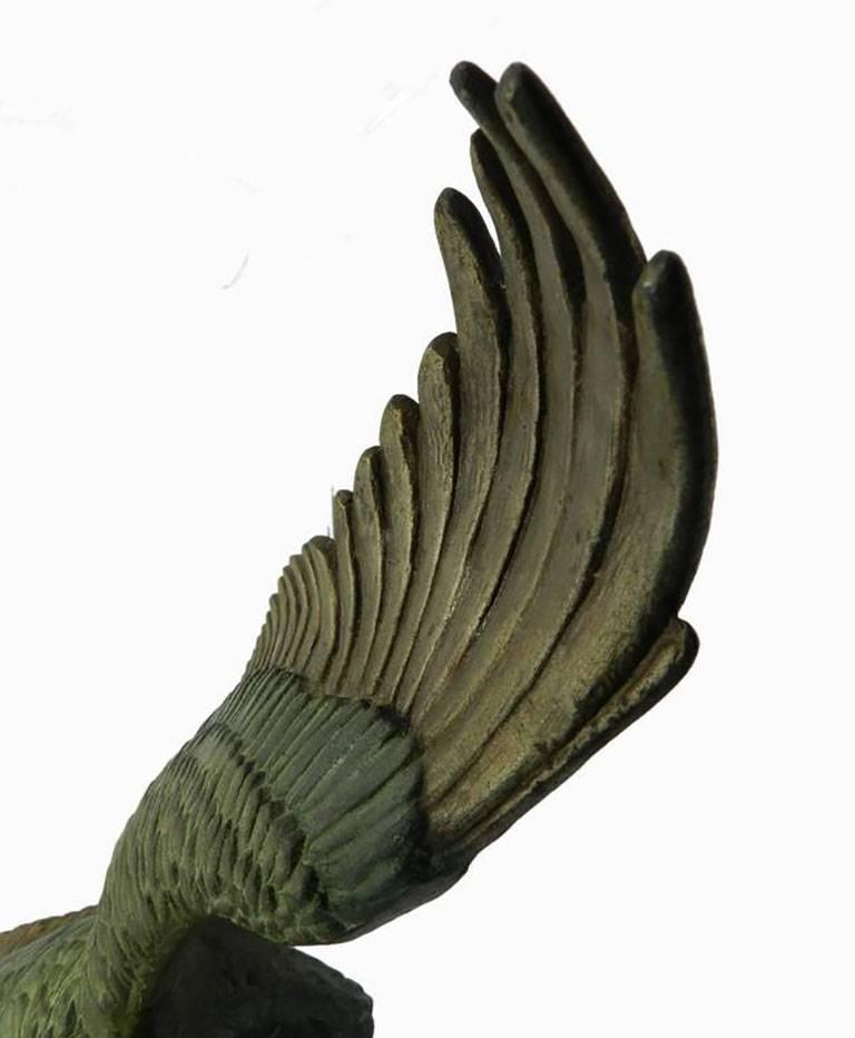 Eagle in Flight signed Rulas Art Deco Sculpture Statue on Marble Base Animalia - Black Figurative Sculpture by Unknown