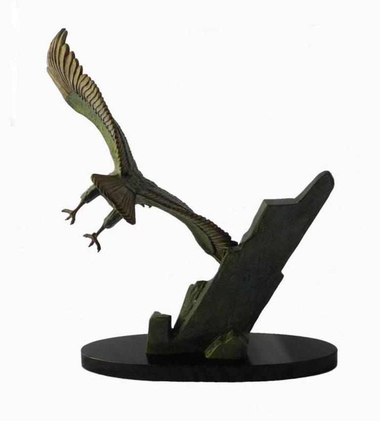 Eagle in Flight signed Rulas Art Deco Sculpture Statue on Marble Base Animalia For Sale 2