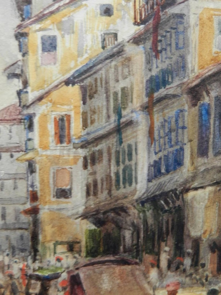 Street Scene Watercolour signed initials FYS 1894 For Sale 1