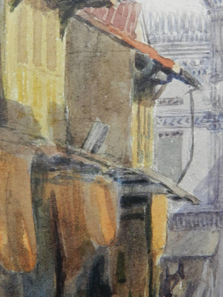 Street Scene Watercolour signed initials FYS 1894 For Sale 3