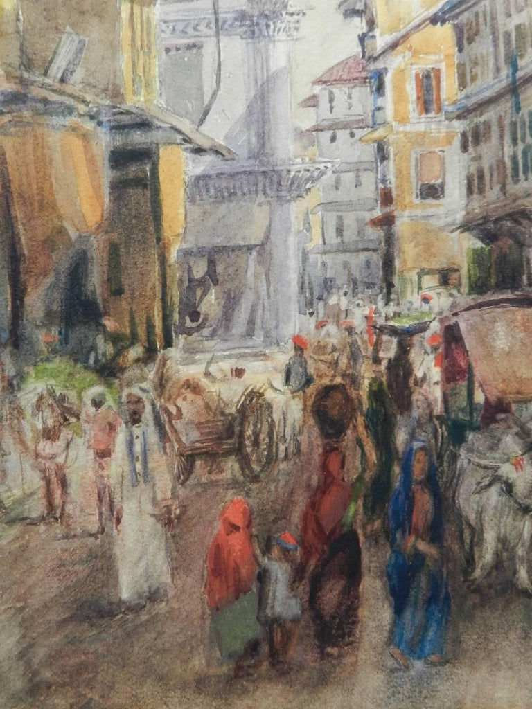 Street Scene Watercolour signed initials FYS 1894 For Sale 4