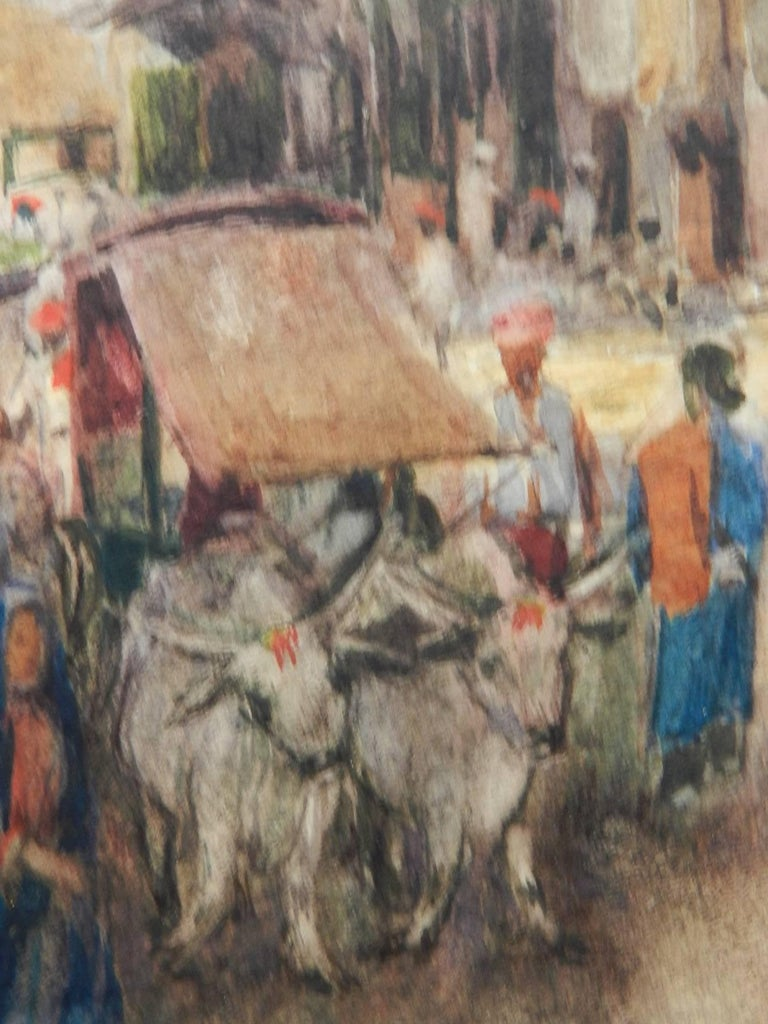 Street Scene Watercolour signed initials FYS 1894 - Art by Unknown