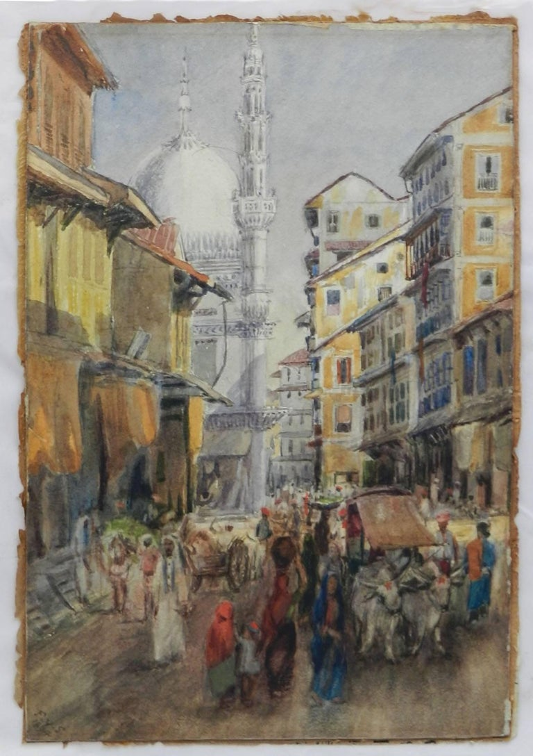 Street Scene Watercolour signed initials FYS 1894 For Sale 5