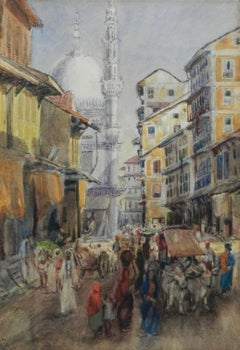 Street Scene Watercolour signed initials FYS 1894
