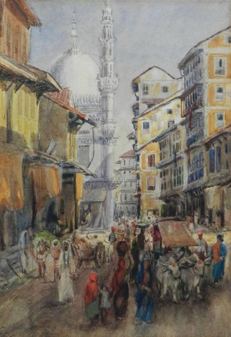 Unknown Landscape Art - Street Scene Watercolour signed initials FYS 1894