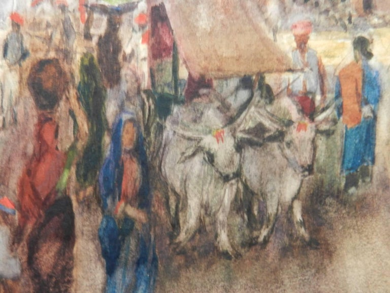 Street Scene Watercolour signed initials FYS 1894 For Sale 2