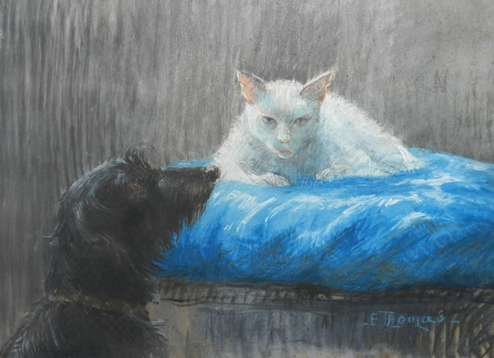 Cat and Dog Chalk Drawing signed E Thomas mid century