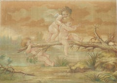 Putti playing by Jeanne Jacquemin Boyer French 19th Century Painting on Fabric