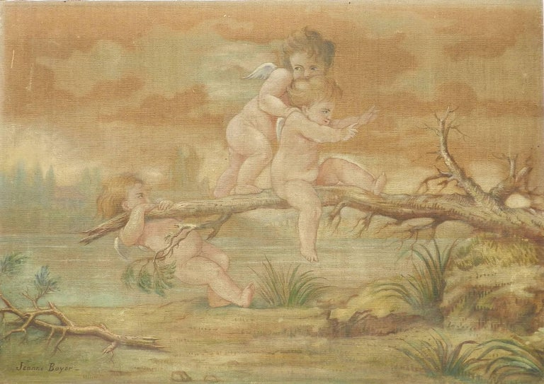 Jeanne Boyer Figurative Painting - Putti playing by Jeanne Jacquemin Boyer French 19th Century Painting on Fabric