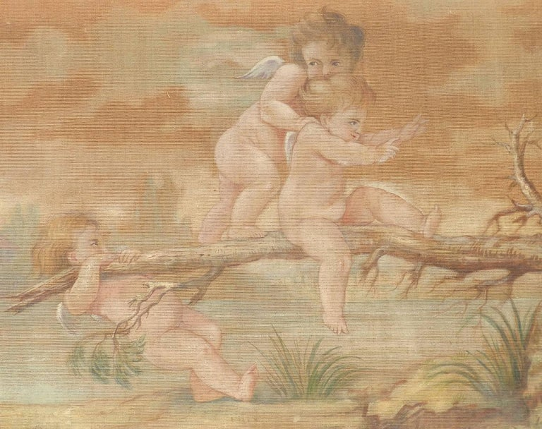 Putti playing by Jeanne Jacquemin Boyer French 19th Century Painting on Fabric For Sale 1