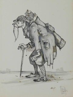 Caricature of an Ancient Golfer by Peter Hobbs Golf Original Painting c1950